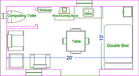 Plans for a small starter straw bale home or guest house for 200 square feet house plans